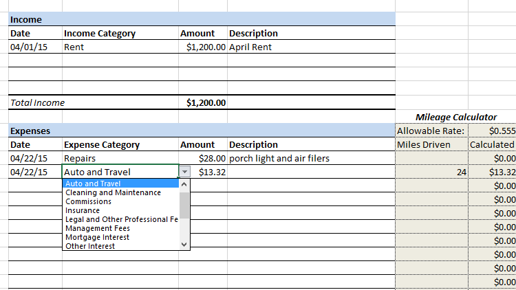 Rental Property Cash Summary Spreadsheet