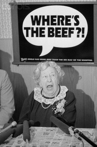 "27 Mar 1984, Washington, DC, USA --- Washington: Clara Peller, star of Wendy's commercial's, asks her famous question, ""Where's the Beef,"" during a press conference at a Washington Wendy's. --- Image by © Bettmann/CORBIS"